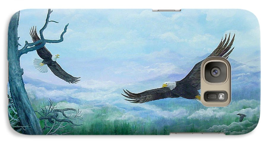 Eagles;birds;river Valley;mountains;sky; Galaxy S7 Case featuring the painting Soaring by Lois Mountz