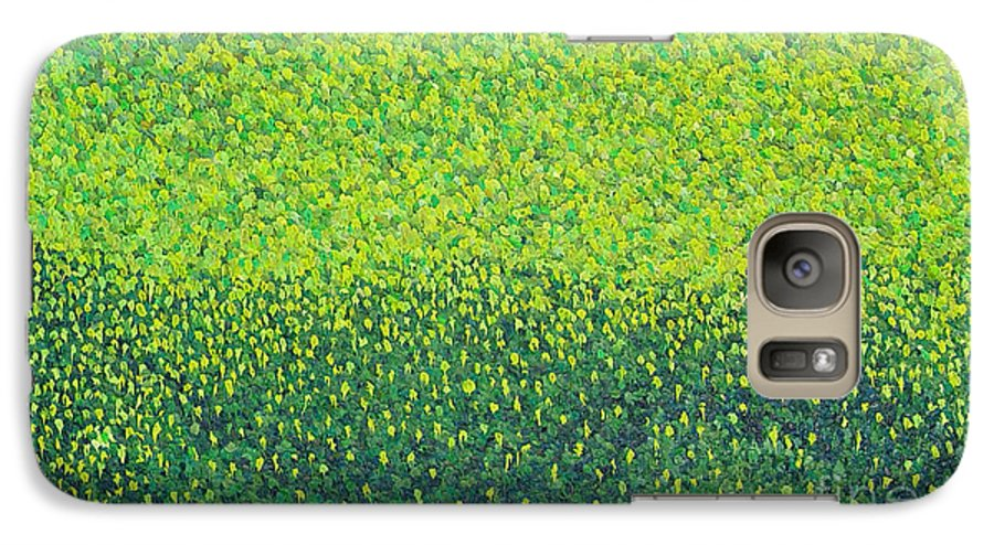 Abstract Galaxy S7 Case featuring the painting Soft Green Wet Trees by Dean Triolo