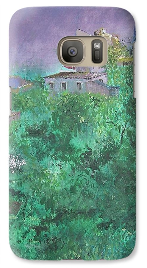 Impressionist Galaxy S7 Case featuring the painting Solitary Almond Tree In Blossom Mallorcan Valley by Lizzy Forrester