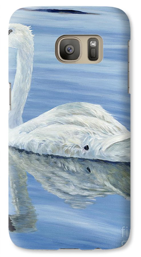 Swan Galaxy S7 Case featuring the painting Solitary Swan by Danielle Perry