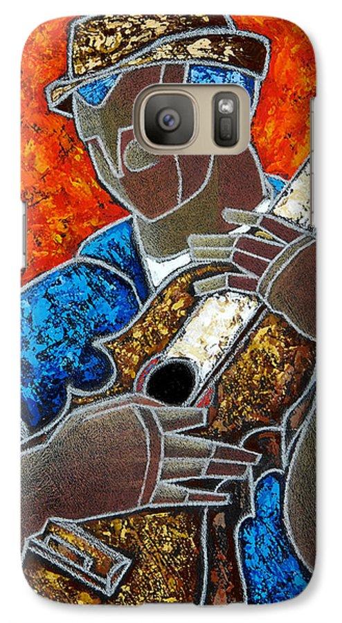 Puerto Rico Galaxy S7 Case featuring the painting Solo De Cuatro by Oscar Ortiz