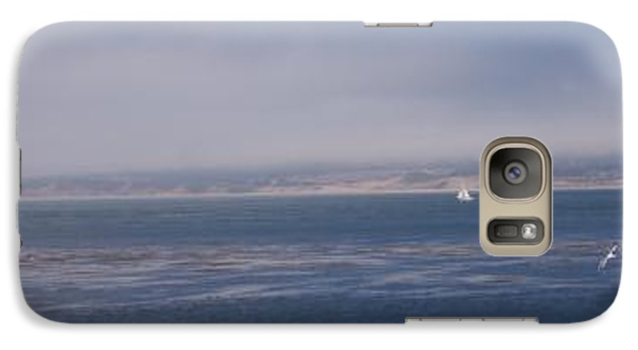 Sailing Outdoors Sail Ocean Monterey Bay Sea Seascape Boat Shoreline Sky Pacific Nature California Galaxy S7 Case featuring the photograph Solo Sail In Monterey Bay by Pharris Art