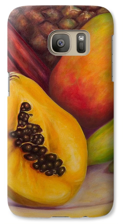 Tropical Fruit Still Life: Mangoes Galaxy S7 Case featuring the painting Solo by Shannon Grissom