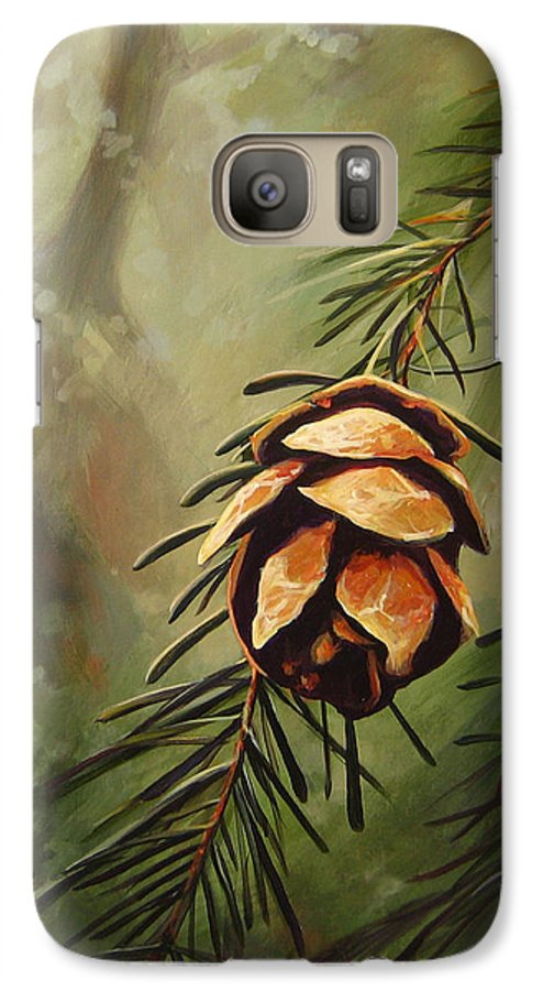 Closeup Of Spruce Cone Galaxy S7 Case featuring the painting Solstice by Hunter Jay