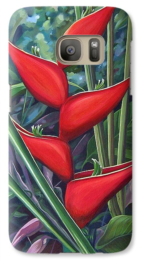 Heliconia Galaxy S7 Case featuring the painting Something In Red by Hunter Jay