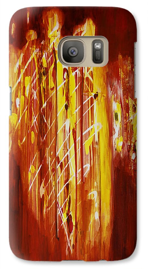 Abstract Galaxy S7 Case featuring the painting Soul Train by Tara Moorman
