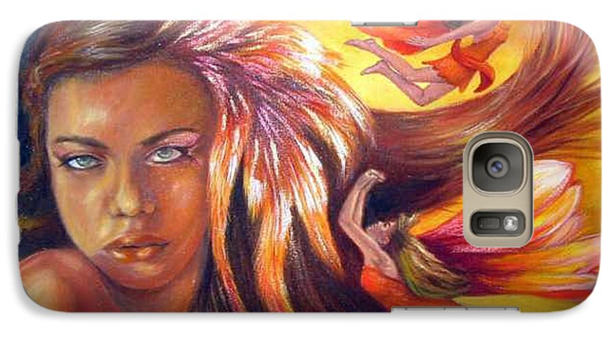Galaxy S7 Case featuring the painting Soulfire by Anne Kushnick