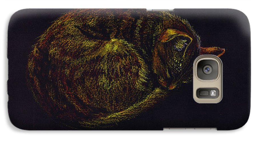 A Cat Soundly Asleep-oil Pastel Galaxy S7 Case featuring the painting Sound Asleep II by Mui-Joo Wee