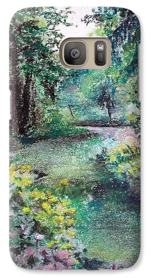 Landscape Galaxy S7 Case featuring the drawing Sous-bois by Muriel Dolemieux