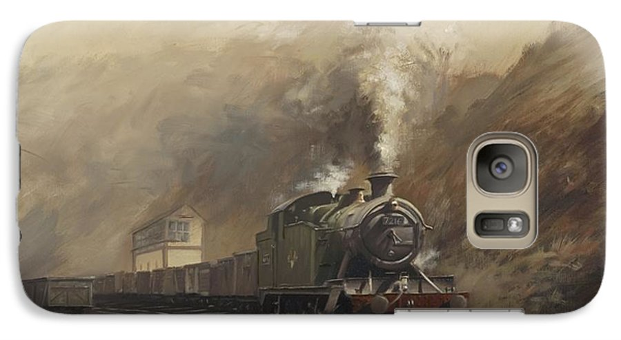 Steam Galaxy S7 Case featuring the painting South Wales Coal Train by Richard Picton