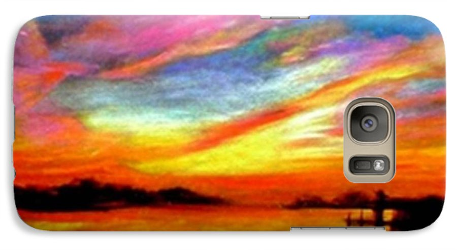 Sunset Galaxy S7 Case featuring the painting Southern Sunset by Gail Kirtz