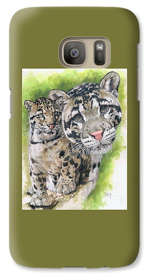 Clouded Leopard Galaxy S7 Case featuring the mixed media Sovereignty by Barbara Keith