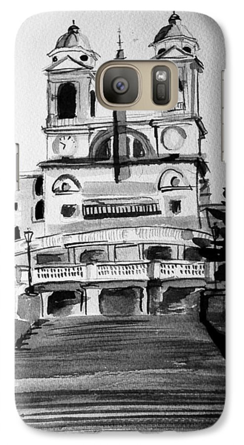 Ink Galaxy S7 Case featuring the painting Spanish Steps by Laura Rispoli