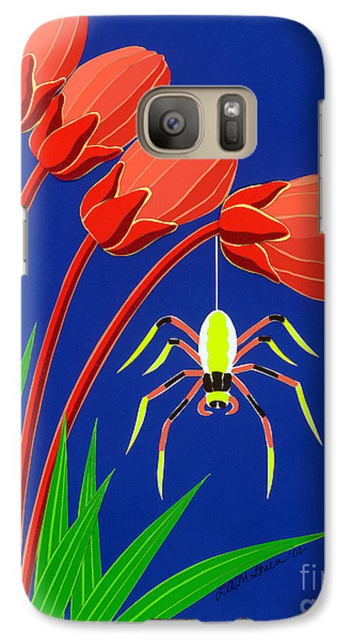 Nature Galaxy S7 Case featuring the drawing Spider by Lucyna A M Green
