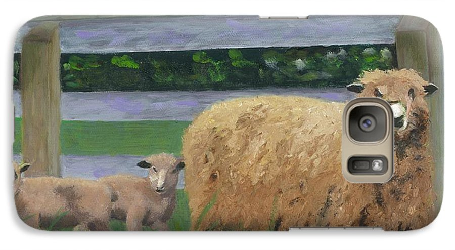 Sheep Lambs Countryside Farm Spring Galaxy S7 Case featuring the painting Sping Lambs by Paula Emery