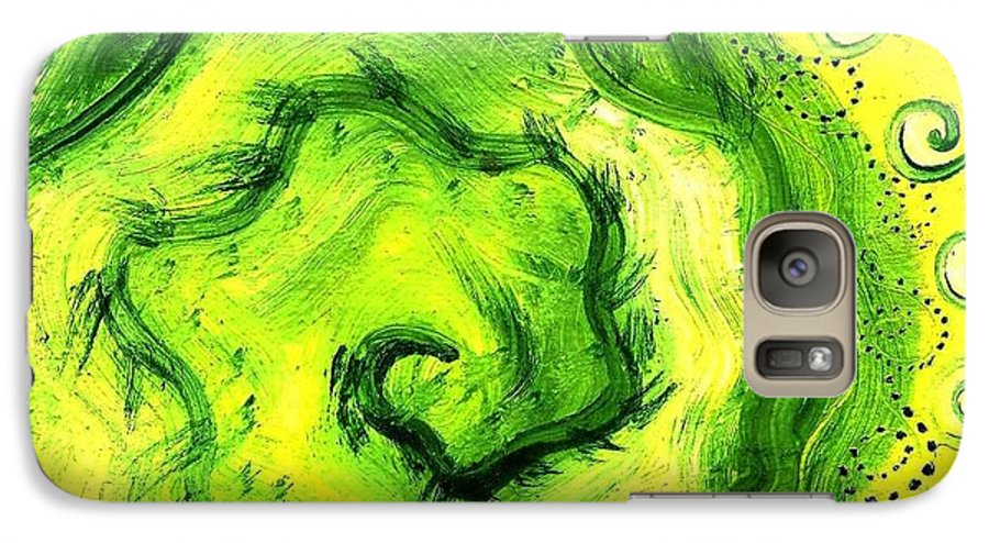 Green Galaxy S7 Case featuring the painting Spiral Of The Heart by Chandelle Hazen