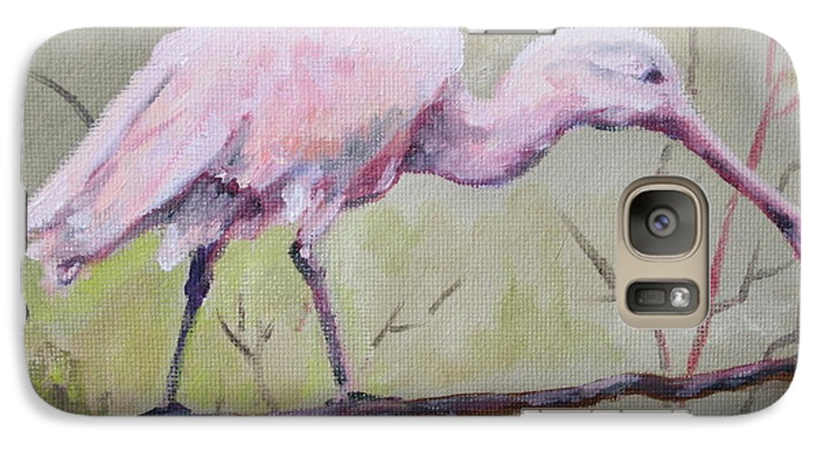 Bird Galaxy S7 Case featuring the painting Spoonbill by Carol Mueller