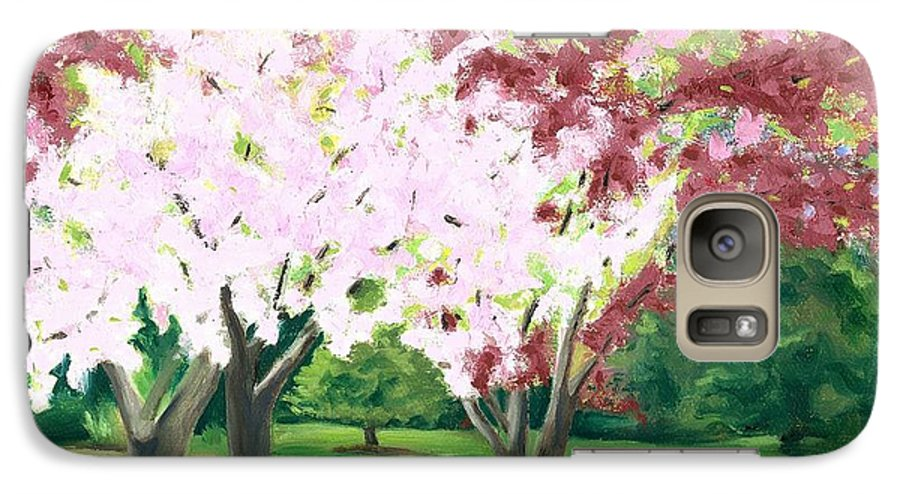 Spring Galaxy S7 Case featuring the painting Spring At Osage Land Trust by Paula Emery