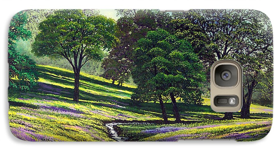 Landscape Galaxy S7 Case featuring the painting Spring Bloom Table Mountain by Frank Wilson