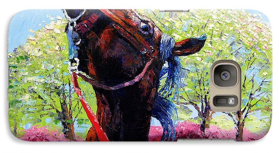 Horse Galaxy S7 Case featuring the painting Spring Fever by John Lautermilch