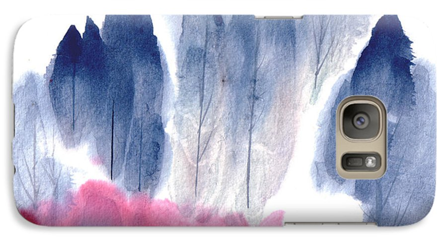 A Forest With Red Blooming Bushes In Spring. This Is A Contemporary Chinese Ink And Color On Rice Paper Painting With Simple Zen Style Brush Strokes.  Galaxy S7 Case featuring the painting Spring Forest by Mui-Joo Wee