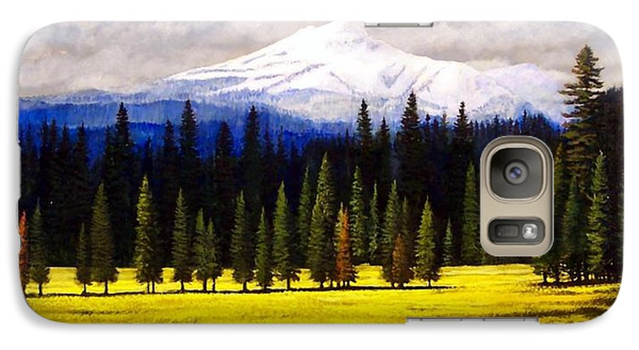 Landscape Galaxy S7 Case featuring the painting Spring Meadow Mount Brokeoff by Frank Wilson