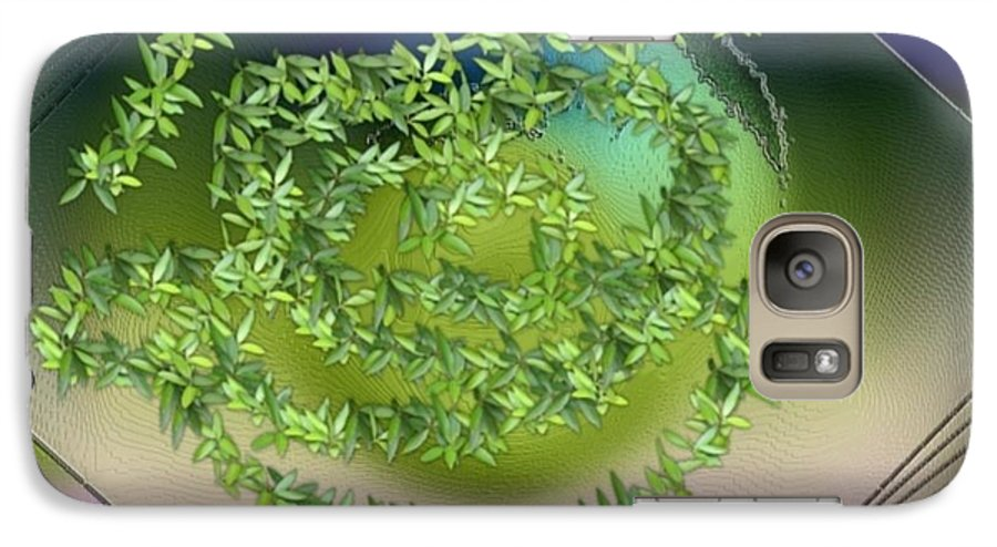 Glass.plate.leaves.salad.light.shadow.dish.kitchen.beauty.spring. Galaxy S7 Case featuring the digital art Spring Salad On Glass Plate by Dr Loifer Vladimir