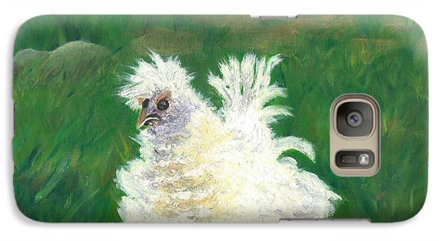 Bantam Frizzle Farmscene Chickens Hen Bird Nature Animals Spring Freerangers Galaxy S7 Case featuring the painting Squiggle by Paula Emery
