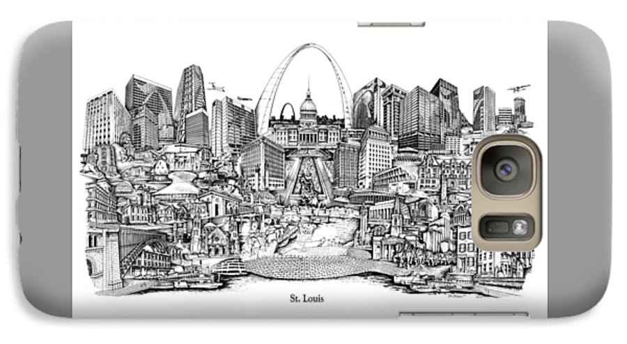 City Drawing Galaxy S7 Case featuring the drawing St. Louis 4 by Dennis Bivens