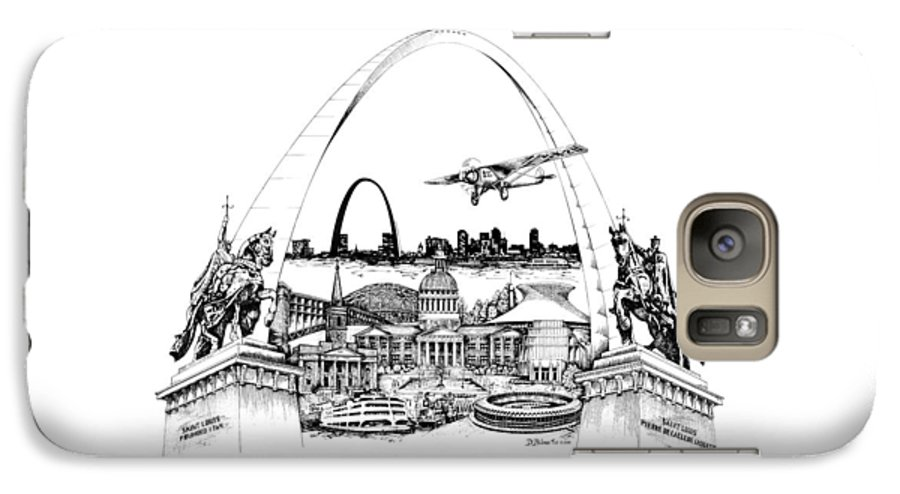 City Drawing Galaxy S7 Case featuring the drawing St. Louis Highlights Version 1 by Dennis Bivens