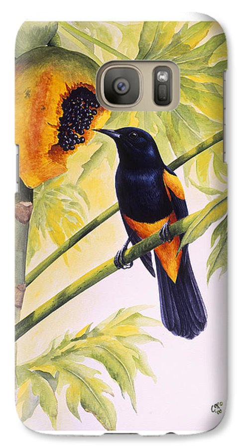 Chris Cox Galaxy S7 Case featuring the painting St. Lucia Oriole And Papaya by Christopher Cox