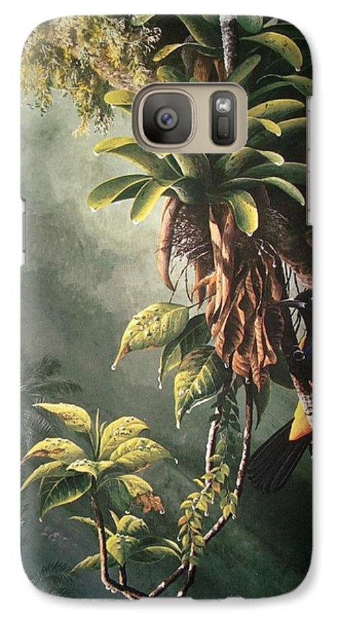 Chris Cox Galaxy S7 Case featuring the painting St. Lucia Oriole In Bromeliads by Christopher Cox