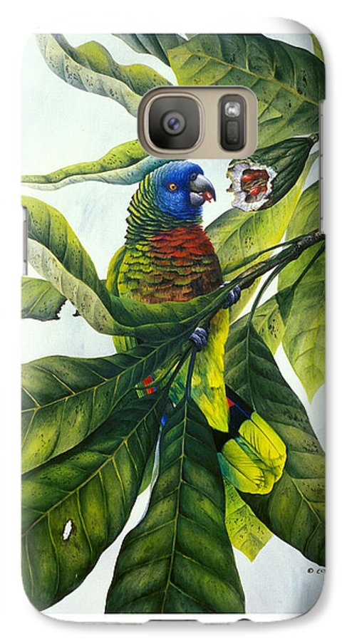 Chris Cox Galaxy S7 Case featuring the painting St. Lucia Parrot And Fruit by Christopher Cox