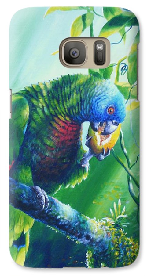 Chris Cox Galaxy S7 Case featuring the painting St. Lucia Parrot And Wild Passionfruit by Christopher Cox
