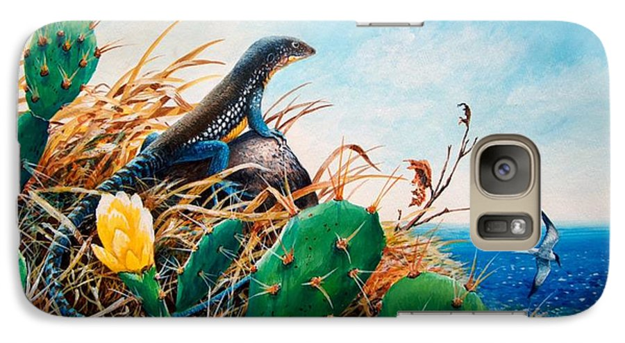 Chris Cox Galaxy S7 Case featuring the painting St. Lucia Whiptail by Christopher Cox