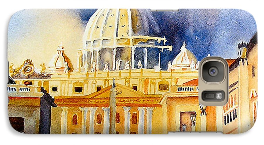 Vatican Galaxy S7 Case featuring the painting St. Peters Basilica by Karen Stark