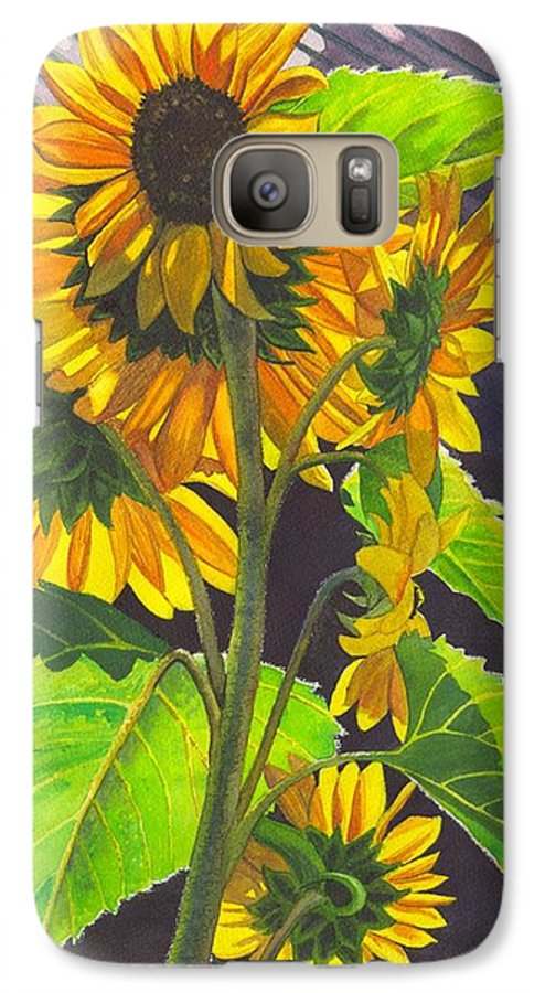 Sunflowers Galaxy S7 Case featuring the painting Stalk Of Sunflowers by Catherine G McElroy