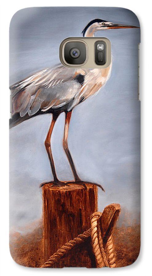 Heron Galaxy S7 Case featuring the painting Standing Watch by Greg Neal