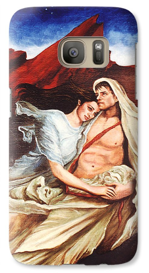 Portrait Galaxy S7 Case featuring the painting Star Crossed Lovers by Teresa Carter