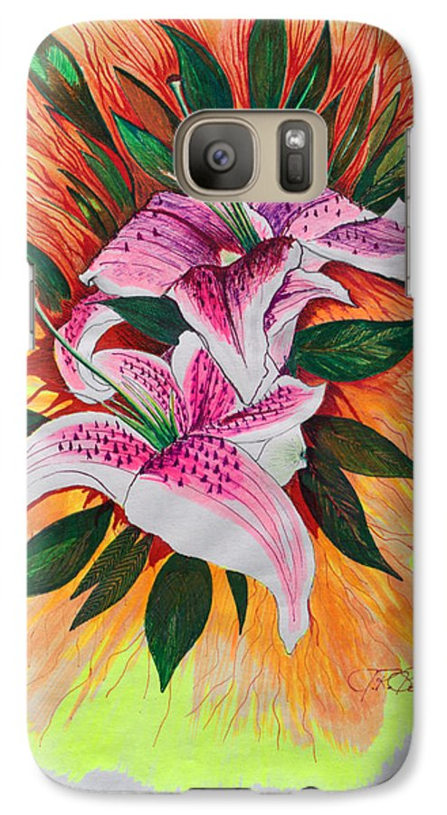 Flowers Galaxy S7 Case featuring the drawing Stargazers by J R Seymour