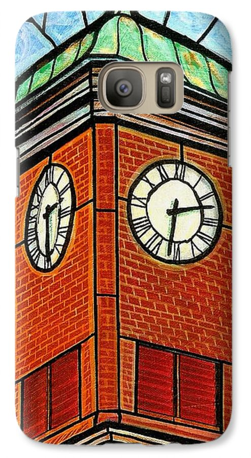 Clocks Galaxy S7 Case featuring the painting Staunton Clock Tower Landmark by Jim Harris