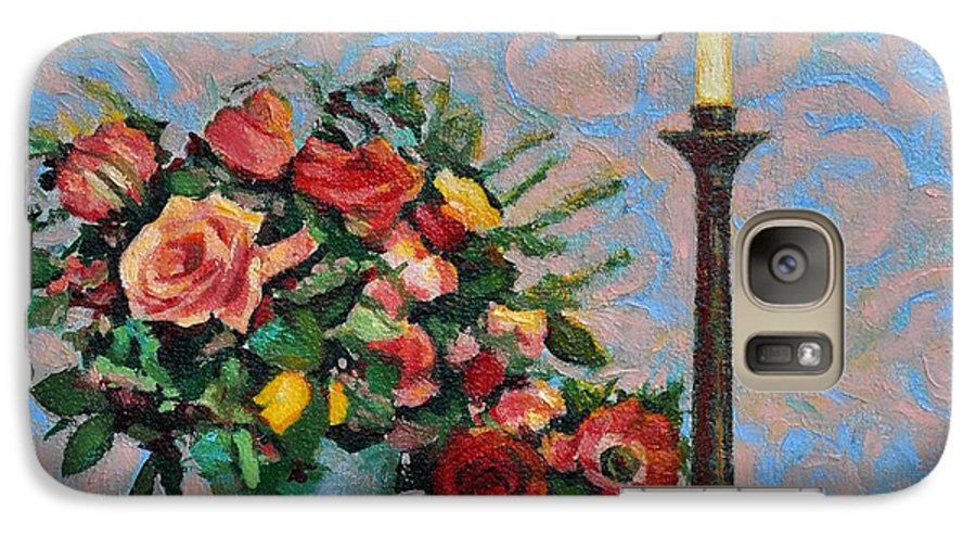 Flowers Galaxy S7 Case featuring the painting Still Life With A Lamp by Iliyan Bozhanov