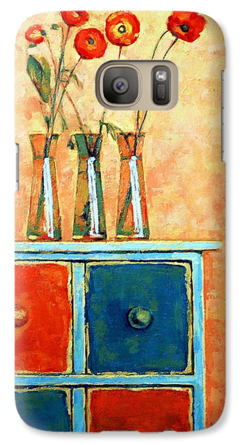 Poppies Galaxy S7 Case featuring the painting Still Life With Poppies by Iliyan Bozhanov