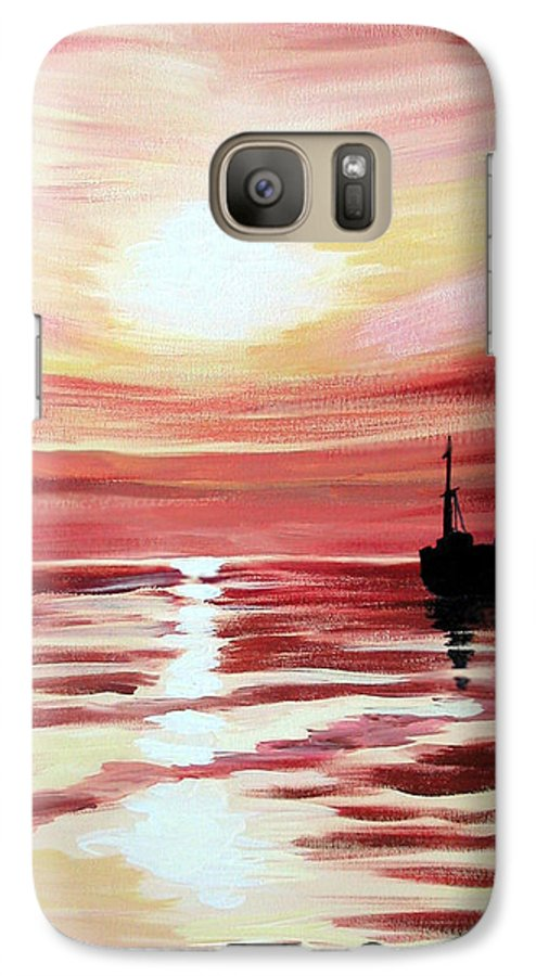 Seascape Galaxy S7 Case featuring the painting Still Waters Run Deep by Marco Morales