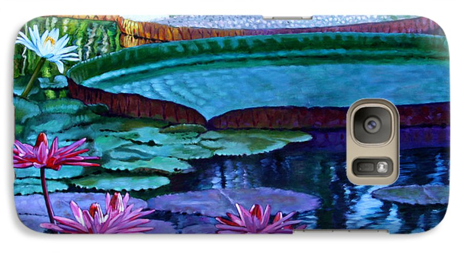 Garden Pond Galaxy S7 Case featuring the painting Stillness Of Color And Light by John Lautermilch