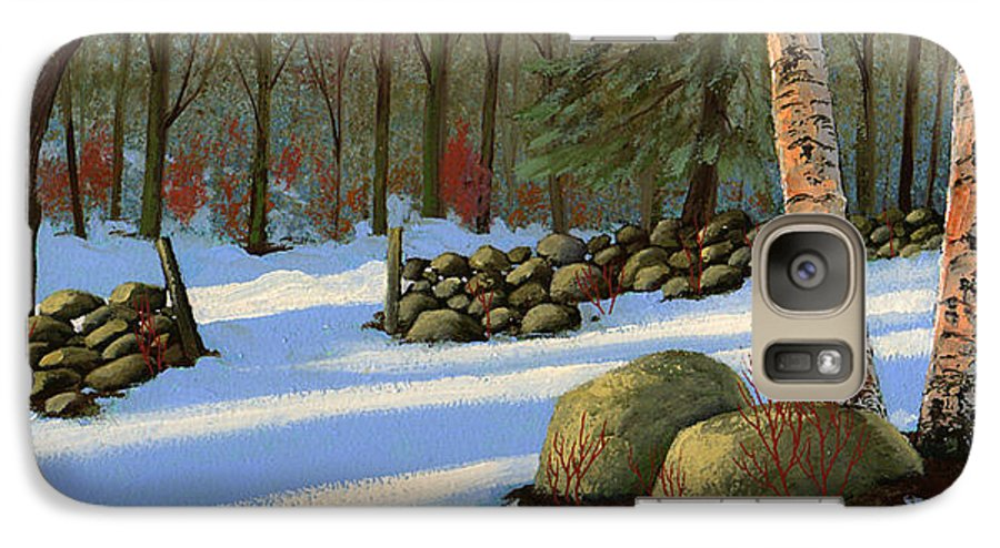 Landscape Galaxy S7 Case featuring the painting Stone Wall Gateway by Frank Wilson
