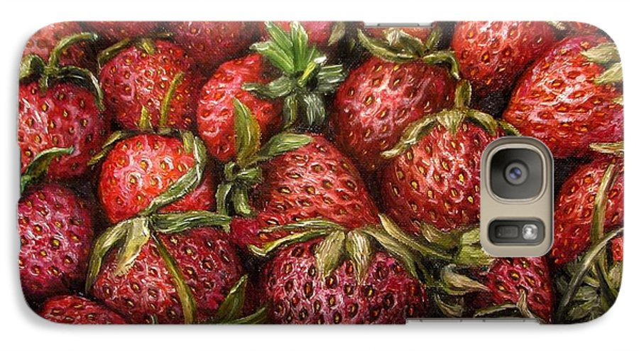 Strawberries Galaxy S7 Case featuring the painting Strawberries -2 Contemporary Oil Painting by Natalja Picugina