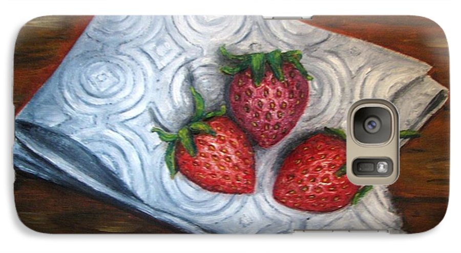 Strawberries Galaxy S7 Case featuring the painting Strawberries-3 Contemporary Oil Painting by Natalja Picugina