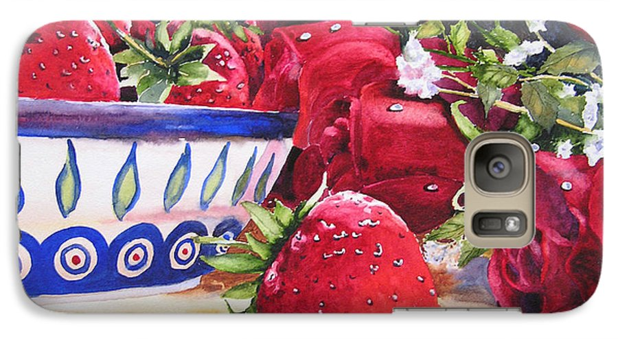 Strawberries Galaxy S7 Case featuring the painting Strawberries And Roses by Karen Stark