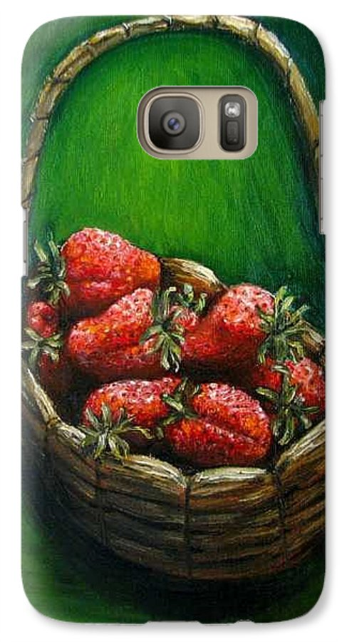 Strawberries Galaxy S7 Case featuring the painting Strawberries Contemporary Oil Painting by Natalja Picugina